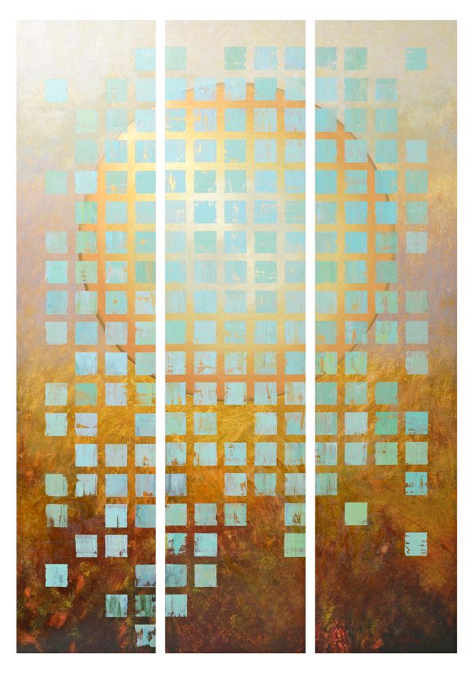 """Haleakala Mantra"" Acrylic on wood panels triptych 79"" x 56"" total, 3 panels 79"" x 18"" each"
