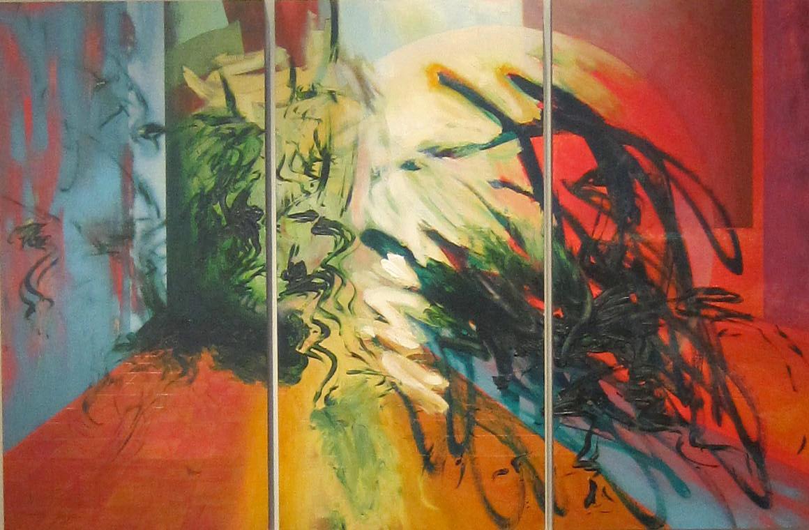"""Port Key"" Acrylic on wood panels Triptych, 48"" x 74"" total, 3 panels 48"" x 24"" each"