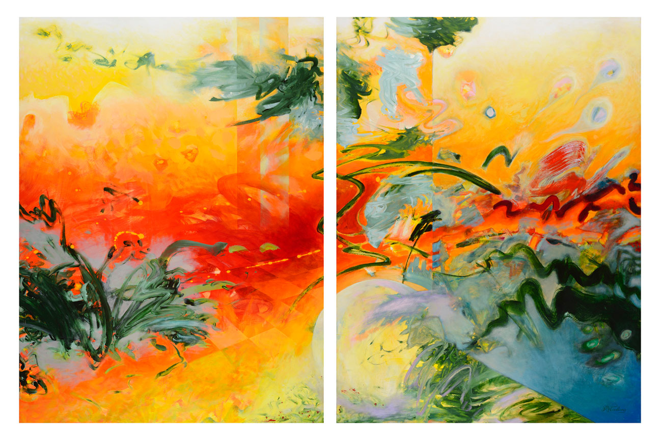 """From One Incarnation to the Next"" Acrylic on wood panels Diptych 48"" x 74"" total, 2 panels 36 x 48 each"