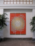 """""""Light Shimmer"""" Acrylic on wood panels triptych 79"""" x 56"""" total, 3 panels 79"""" x 18"""" each"""