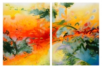 """""""From One Incarnation to the Next"""" Acrylic on wood panels Diptych 48"""" x 74"""" total, 2 panels 36 x 48 each"""